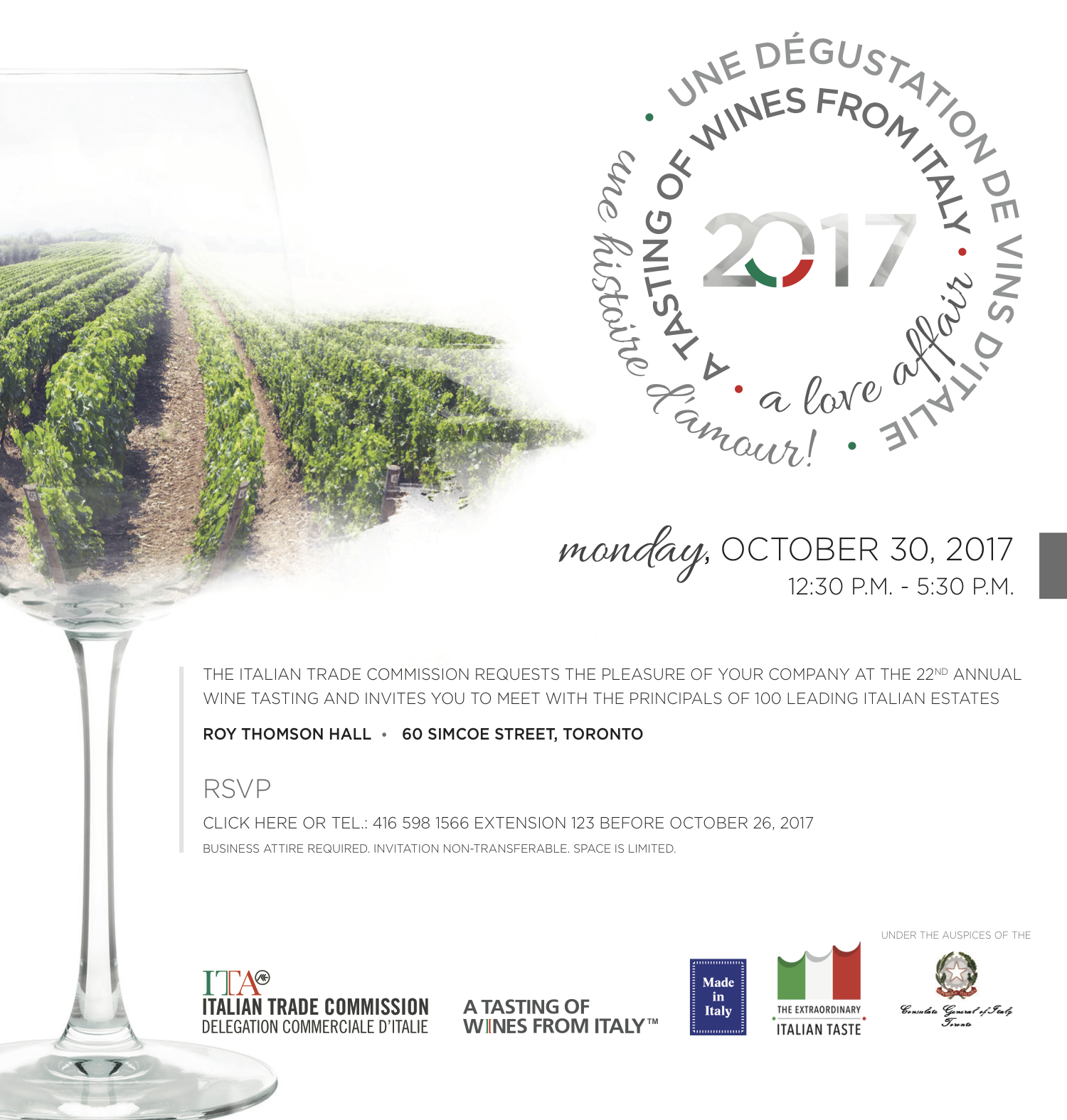 Oct 30th – Italian Wine Showcase (@ Roy Thomson Hall) Promotion