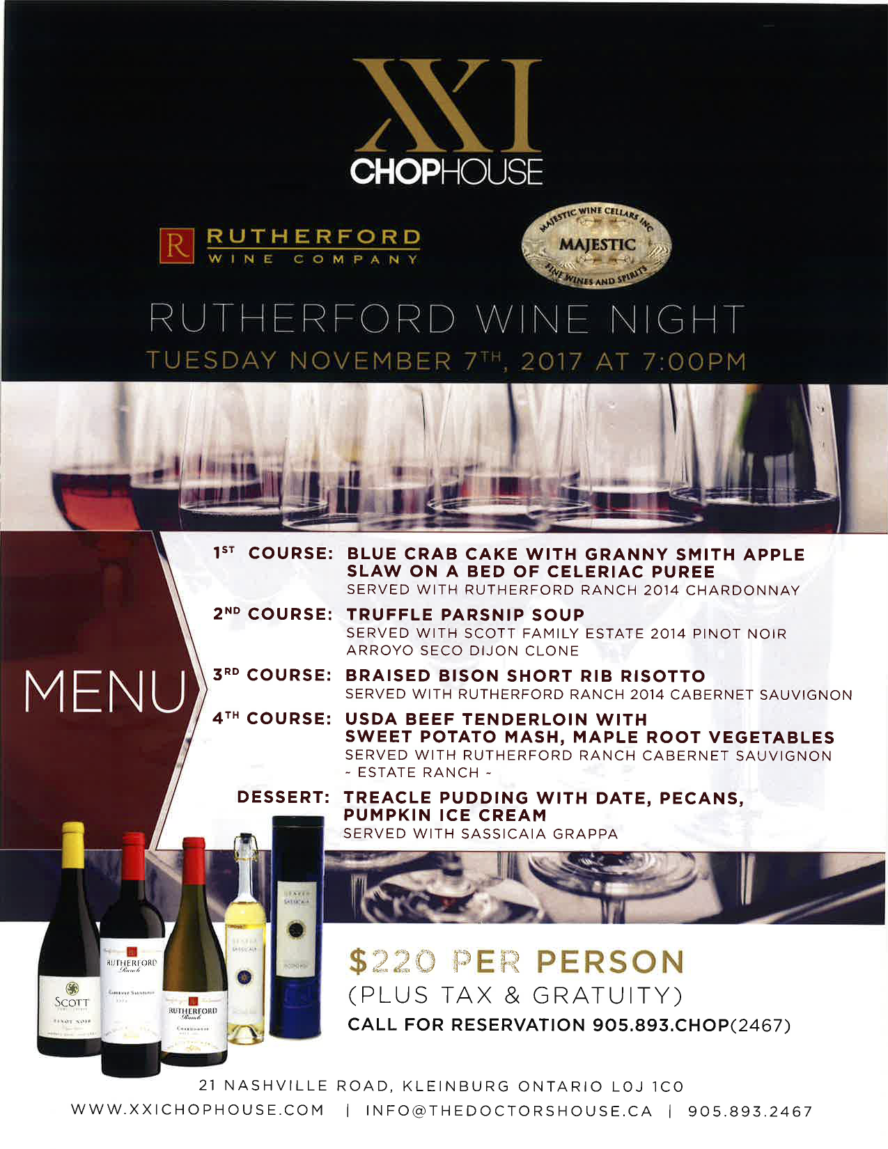Tuesday, November 7th – Rutherford Wine Dinner (@ Chop XXI Steakhouse) Promotion