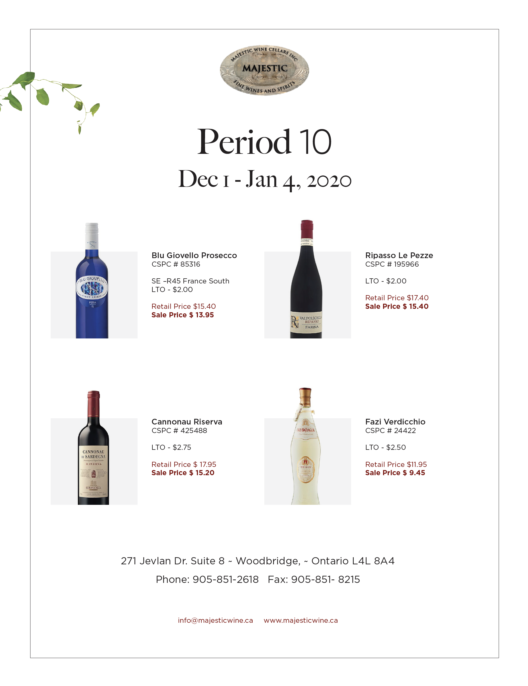 Period 10 | December 1st - January 4th Promotion